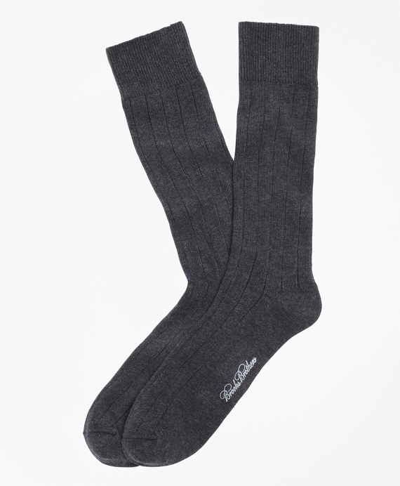 Ribbed Crew Socks Charcoal