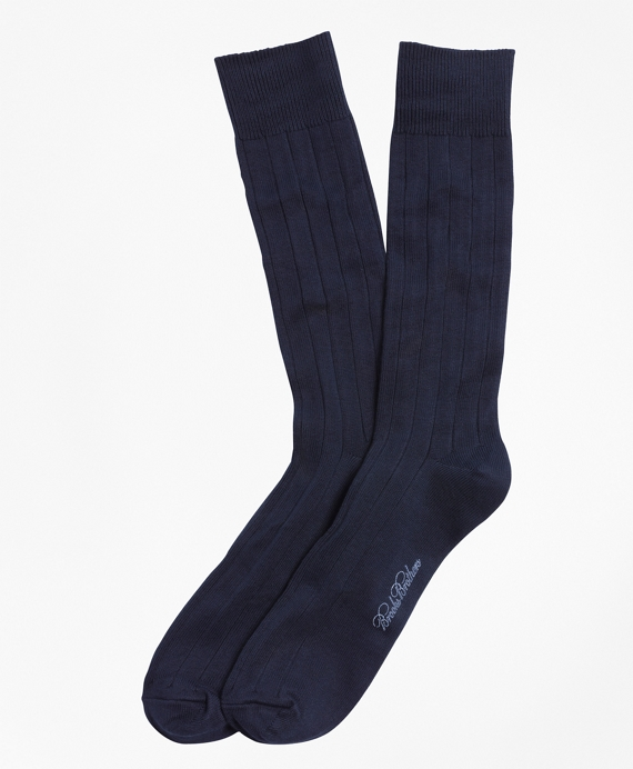 Ribbed Crew Socks Navy