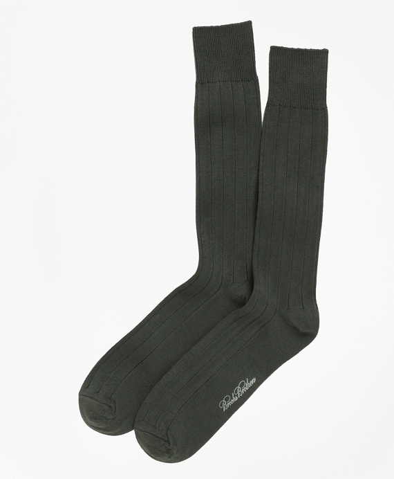 Ribbed Crew Socks Olive