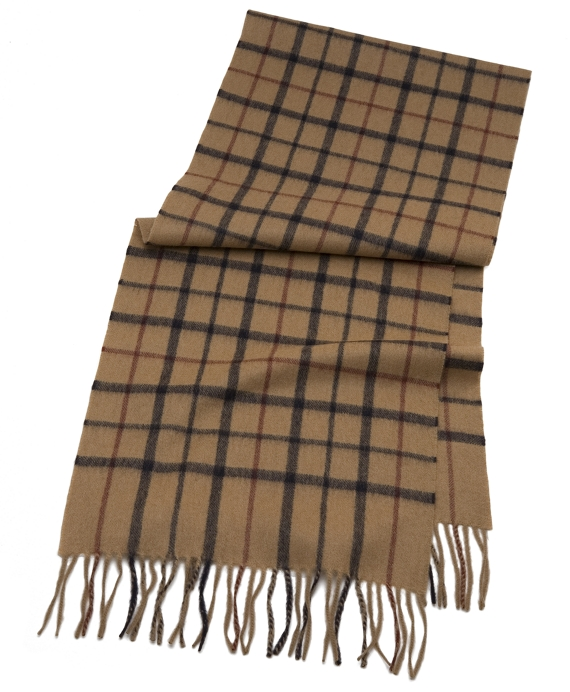 Tattersall Camel Hair Scarf