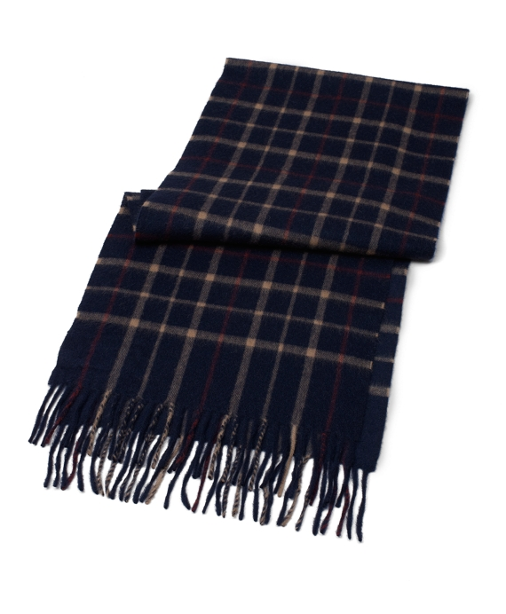 Tattersall Camel Hair Scarf Navy