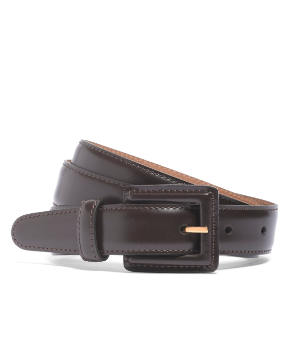 Square Covered Buckle Belt Brown