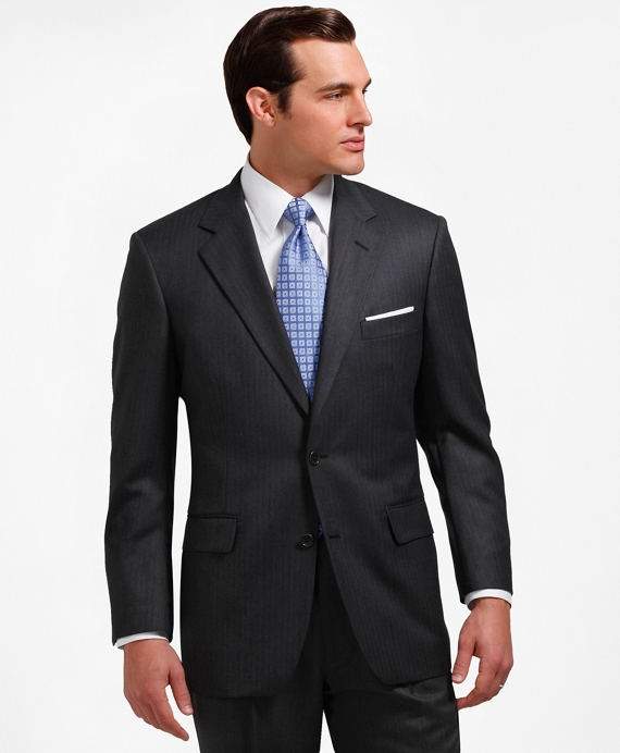 Madison Fit Saxxon™ Wool Herringbone 1818 Suit Grey