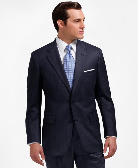 Madison Fit Saxxon Wool Herringbone 1818 Suit Navy