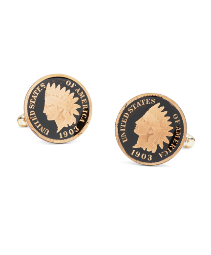 Indian Head Penny Hand Painted Cuff Links