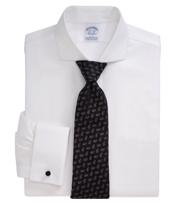 Non-Iron Slim Fit Twill Dress French Cuff Dress Shirt With DOW XLA™ White