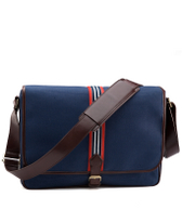 Canvas Web Stripe Messenger Bag