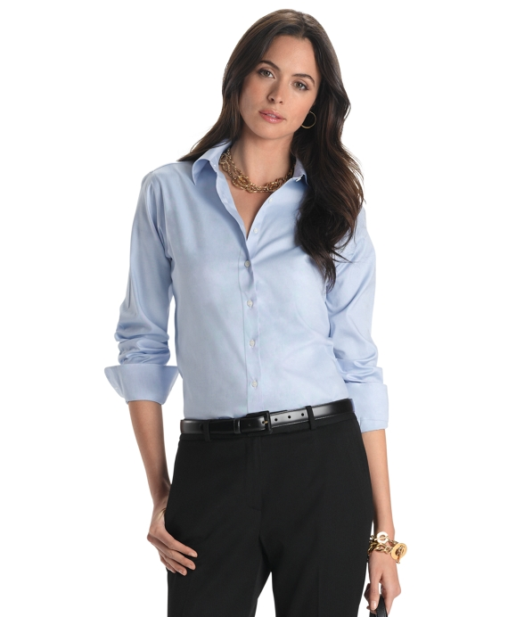 Petite Non-Iron Classic-Fit Dress Shirt Blue