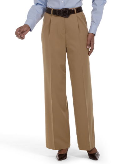 Pleat-Front Caroline Fit Gabardine Dress Trousers