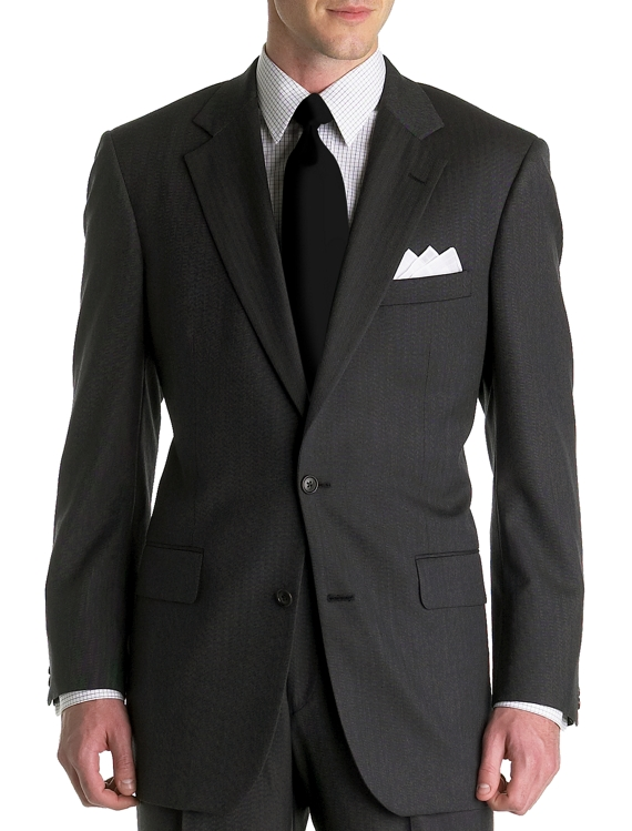 Madison Herringbone Two-Button 1818 Suit Grey