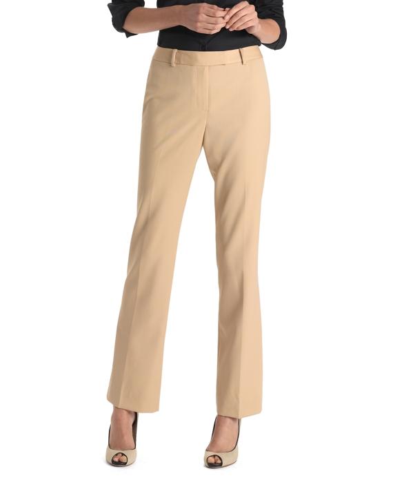 Plain-Front Caroline Fit Gabardine Trousers Dune