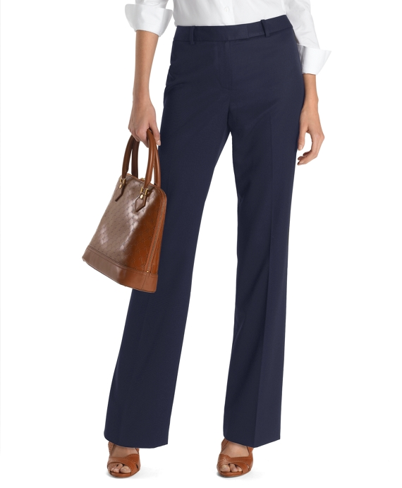 Plain-Front Caroline Fit Gabardine Trousers Navy