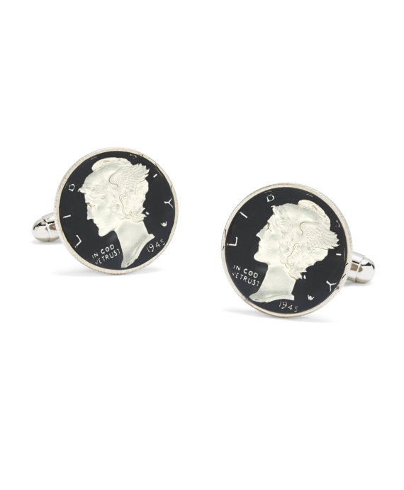 Mercury Dime Enamel Hand Painted Cuff Links As Shown