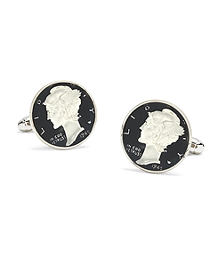 Mercury Dime Enamel Hand Painted Cuff Links