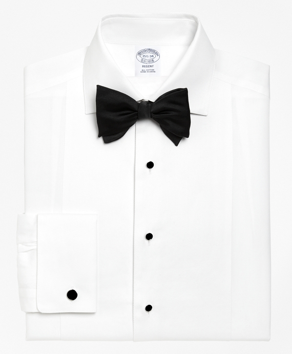 Regent Fit Bib-Front Spread Collar Tuxedo Shirt White