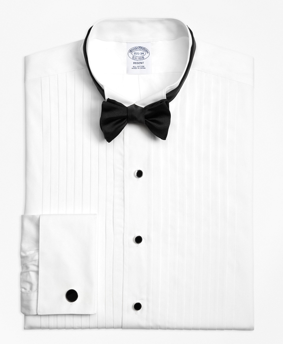 Slim Fit Ten-Pleat Wing Collar Formal Tuxedo Shirt White