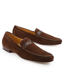 Suede Loafers With Alligator Detail