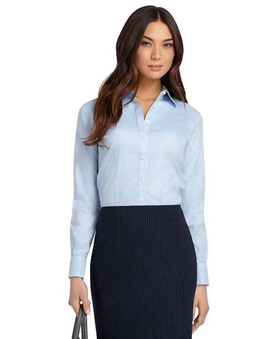 Petite Non-Iron Fitted Dress Shirt with French Cuffs Blue