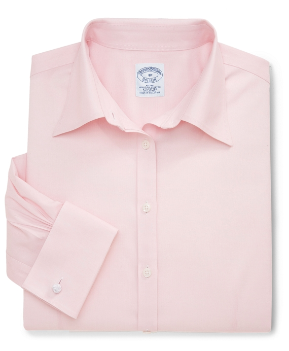 Petite Non-Iron Fitted Dress Shirt with French Cuffs Pink
