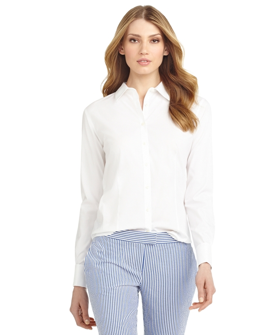 Petite Non-Iron Fitted Dress Shirt with French Cuffs White