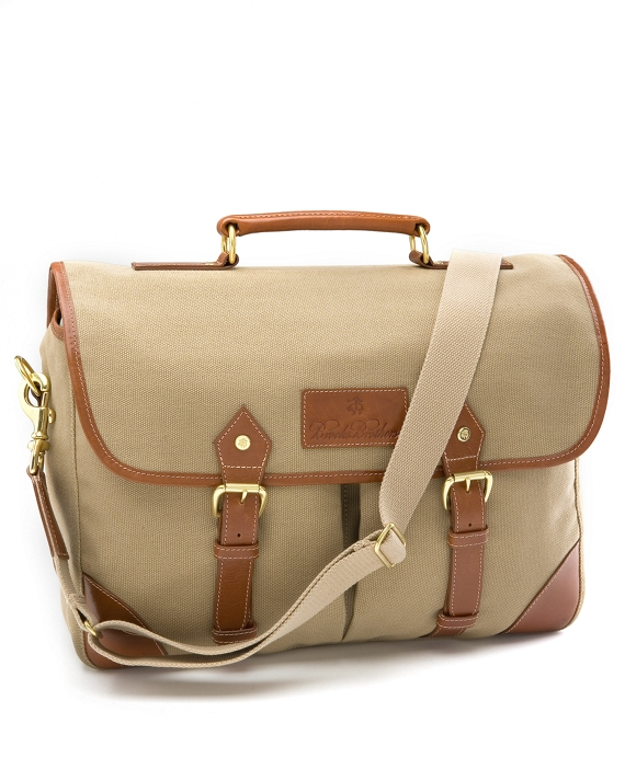 Canvas Leather Briefcase British Tan
