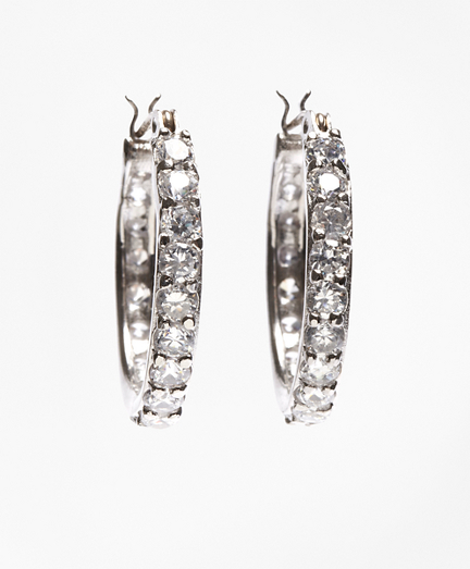 Crystal-Studded Hoop Earrings