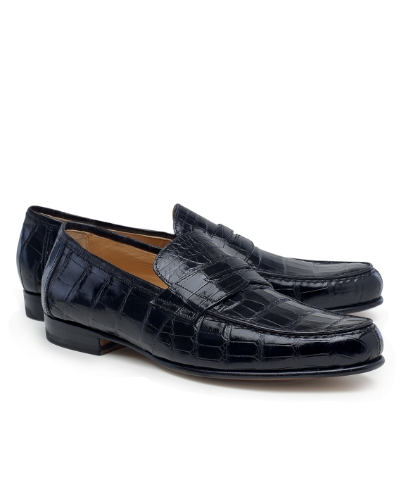 Alligator Penny Loafers Black