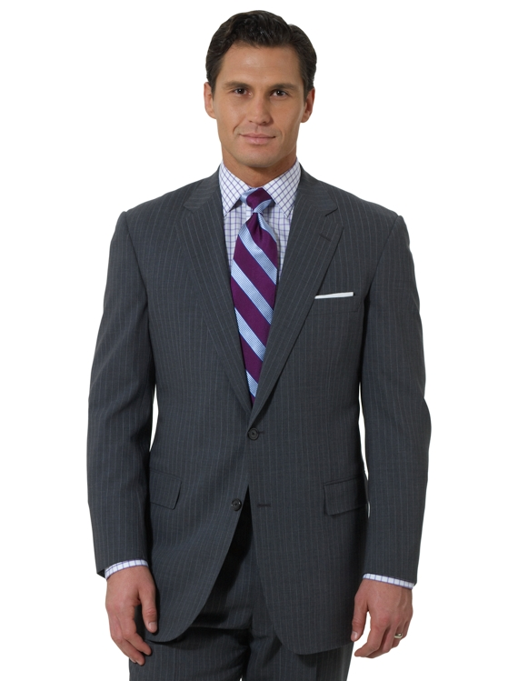 BrooksCool® Pinstripe Two-Button Madison Suit Grey