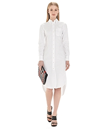 Button-Down Shirt Dress with Mitered Cuffs