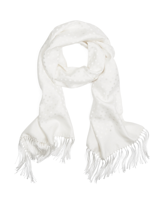 Polka Dot Jacquard Formal Scarf White