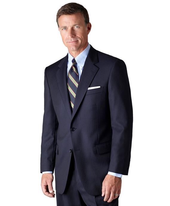 Madison Saxxon Blue Alternating Stripe 1818 Suit Navy