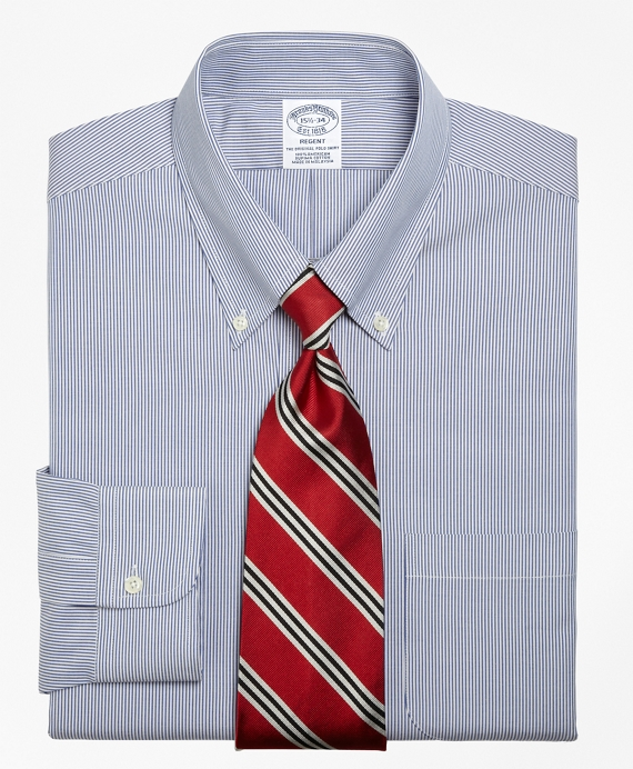 Regent Fit Stripe Dress Shirt Blue