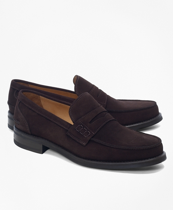 Sporty Suede Penny Loafers Brown