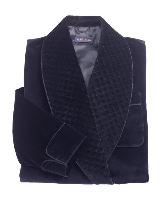 Velvet Smoking Jacket Navy