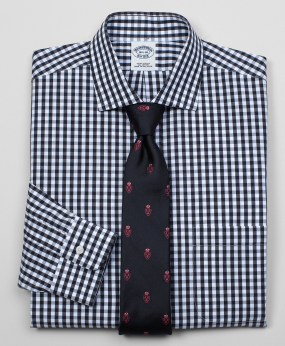 Classic All-Cotton Extra-Slim Fit Large Gingham Dress Shirt Black