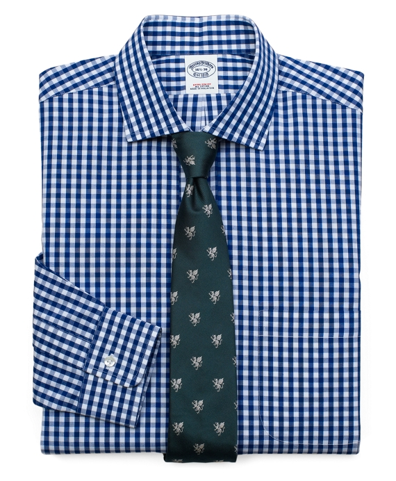 Classic All-Cotton Extra-Slim Fit Large Gingham Dress Shirt Navy