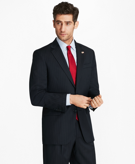 Madison Fit Two-Button 1818 Suit Navy Stripe