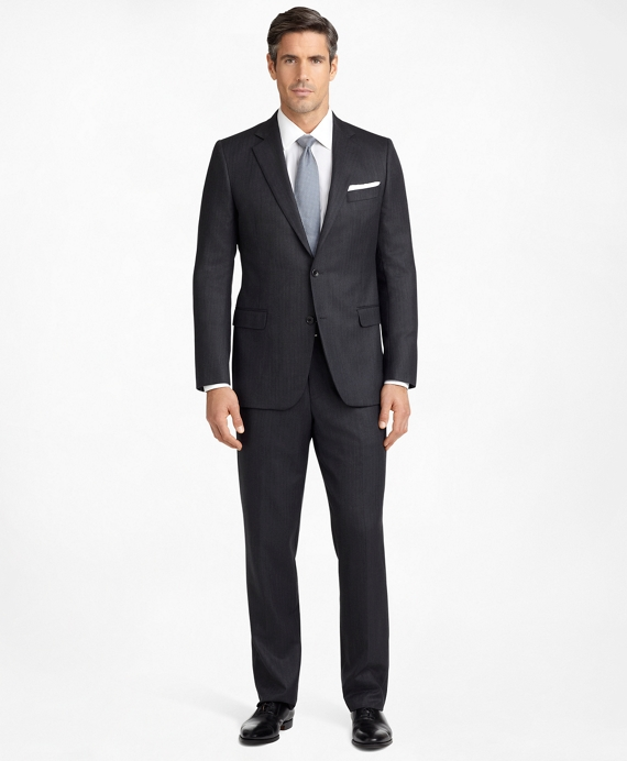 Madison Fit Saxxon Wool Herringbone 1818 Suit Grey