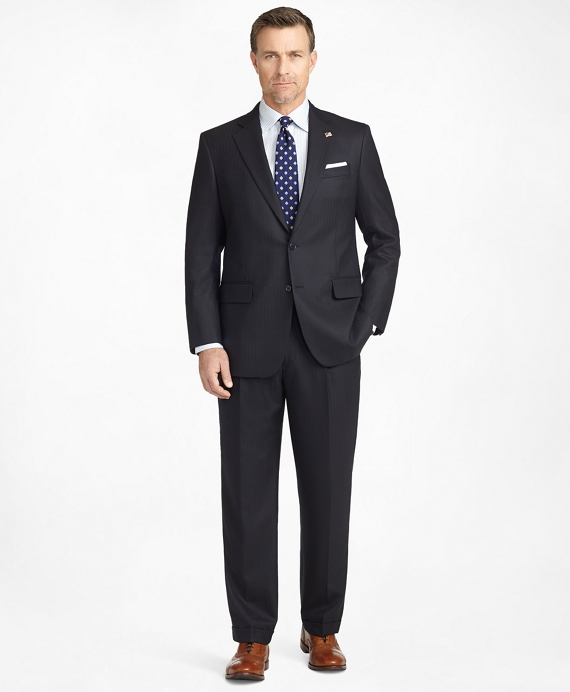 Madison Fit Saxxon Wool Herringbone 1818 Suit Navy