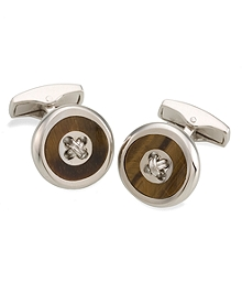 Tiger's Eye Button Cuff Links