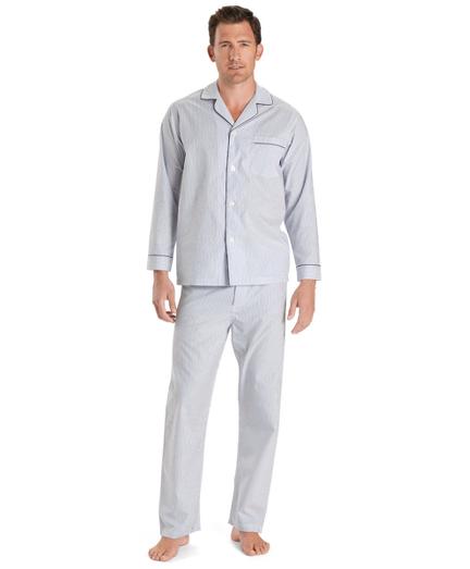 Wrinkle-Resistant Blue Stripe Pajamas