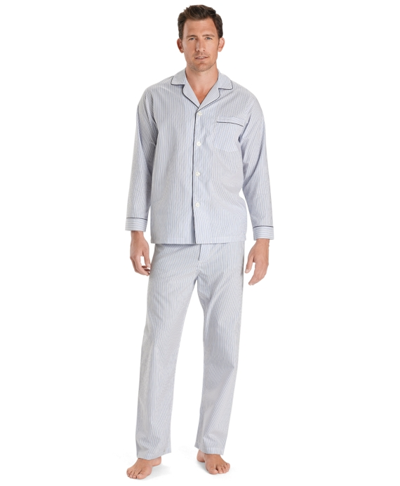 Wrinkle-Resistant Blue Stripe Pajamas Light Blue