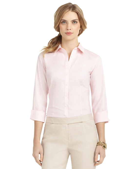 Petite Non-Iron Three-Quarter Sleeve Fitted Dress Shirt Pink