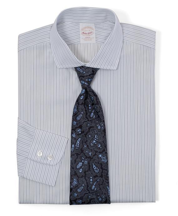 Golden Fleece® All-Cotton Slim Fit Alternating BB# 10 Stripe Luxury Dress Shirt Grey
