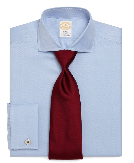 Golden Fleece® Regent Fit Herringbone French Cuff Dress Shirt Light Blue