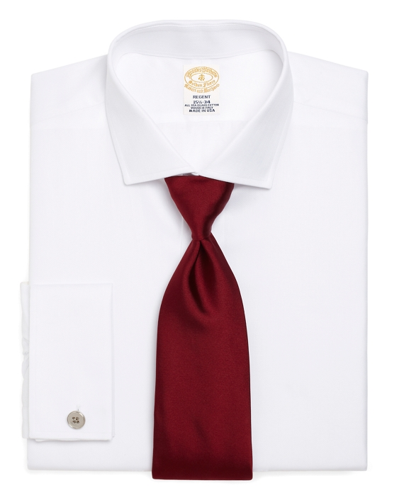 Golden Fleece® Regent Fit Herringbone French Cuff Dress Shirt White