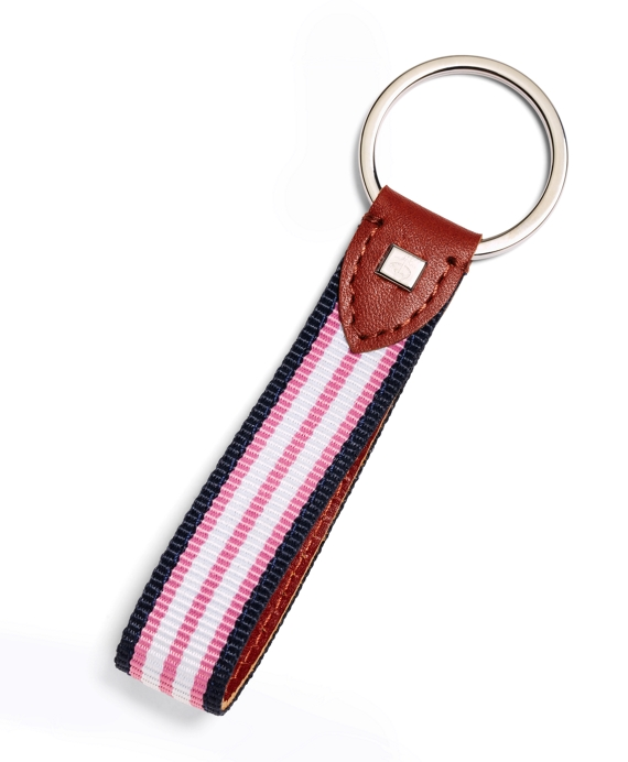 Stripe Key Fob Navy-Pink