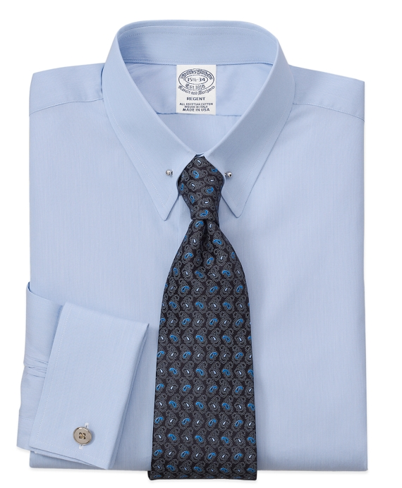 Regent Fit Hairline Solid French Cuff Dress Shirt Light Blue