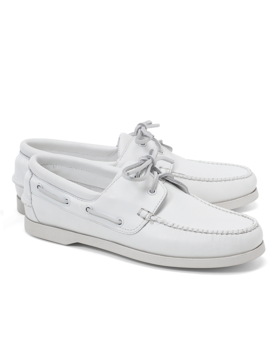 Leather Boat Shoes White
