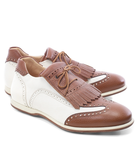 Kiltie Golf Shoes White-Cognac